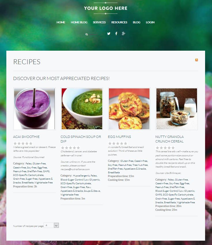 Show recipes, both preloaded ones as well as your own